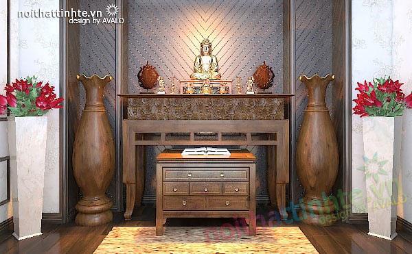 Mẫu phòng thờ, bàn thờ chung cư cao cấp đẹp đậm chất Á Đông.