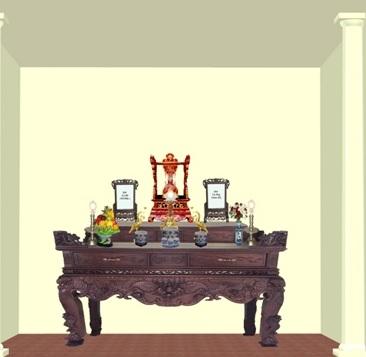bày trí bàn thờ gia tiên lúc nhập trạch