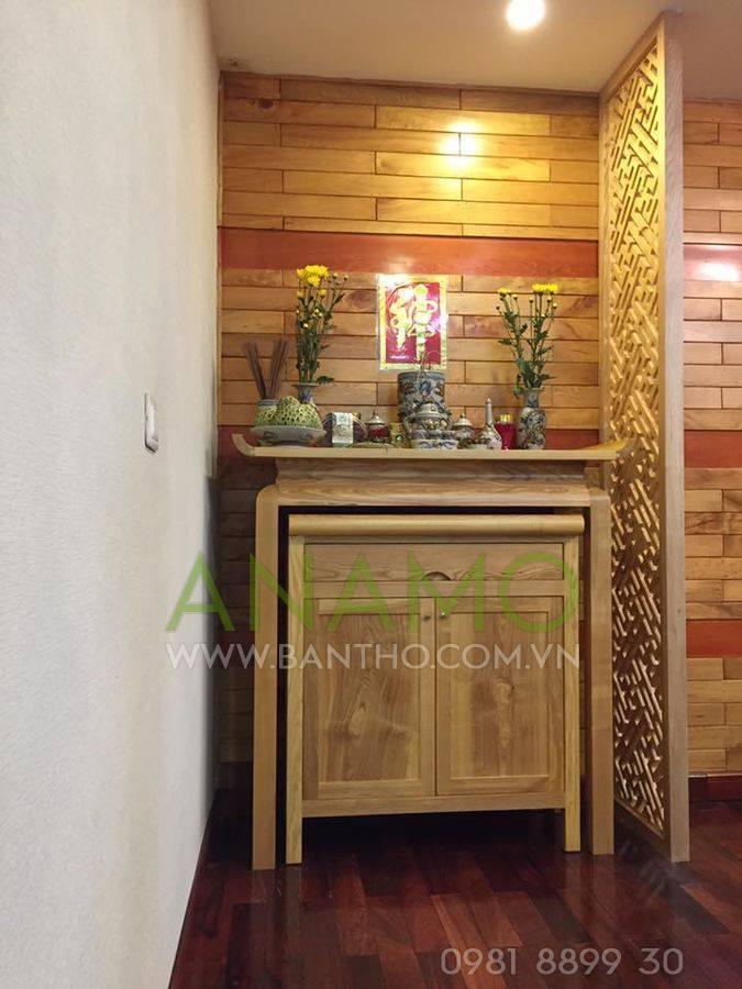 ( Không gian thờ có cảm giác tươi mới nhẹ nhàng - Bàn thờ ABT 15 trần màu gỗ nguyên bản cùng với vách CNC theo tone - Cô Tuyết - Hòa Bình Green )