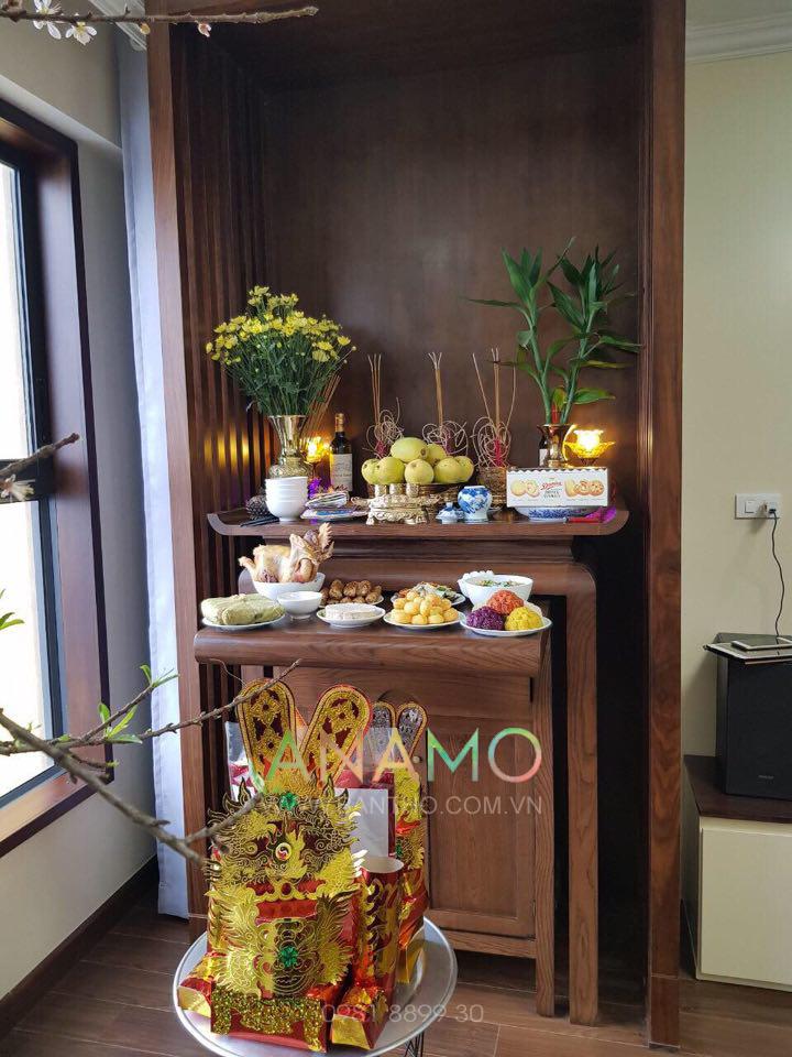 ( Góc thờ phổ biến ở các chung cư, đang chuẩn bị lễ nhập trạch nhà chị Hạnh - Chung cư cao cấp Pen Studio )
