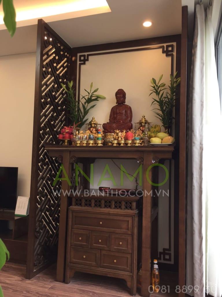 Mẫu bàn thờ phật được đặt trong phòng khách