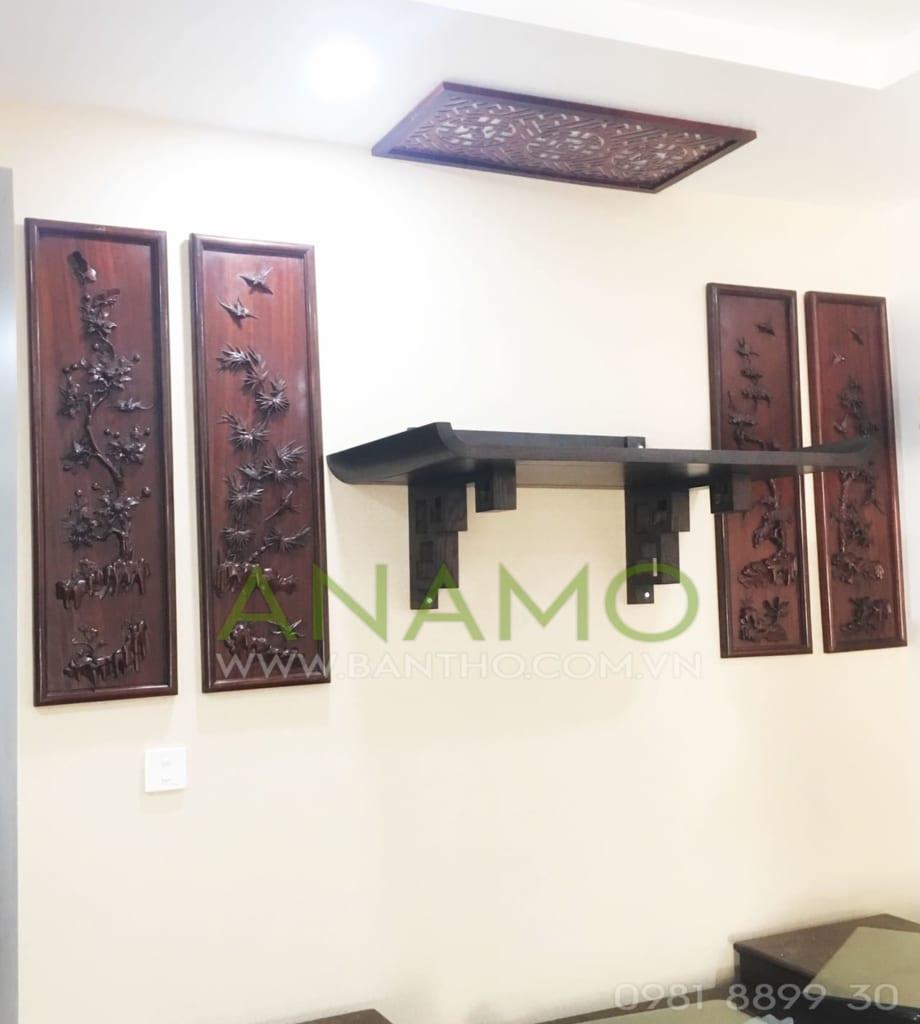 bàn thờ treo tường kết  hợp tranh thờ